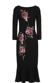 Приталенное платье-миди с контрастной вышивкой и вырезом-лодочка Dolce & Gabbana