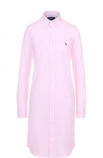 Платье-рубашка прямого кроя с вышитым логотипом бренда Polo Ralph Lauren