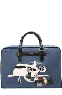 Текстильная дорожная сумка с аппликацией DG Family и плечевым ремнем Dolce & Gabbana