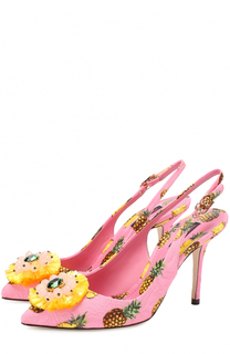 Туфли Bellucci из текстиля с принтом и брошами Dolce & Gabbana
