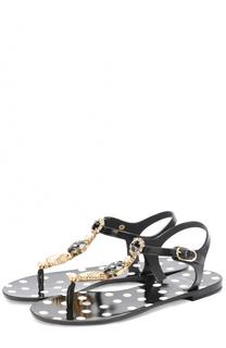 Резиновые сандалии с кристаллами Dolce & Gabbana