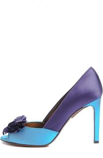 Атласные туфли с открытым мысом и бантом Lanvin