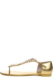 Кожаные сандалии с декором Giuseppe Zanotti Design