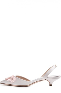 Сатиновые туфли с аппликацией Giambattista Valli