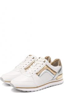 Кожаные кроссовки с металлизированными вставками MICHAEL Michael Kors