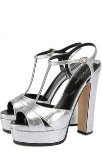 Босоножки из металлизированной кожи на высоком каблуке и платформе Sergio Rossi