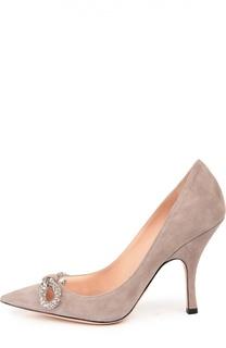 Замшевые туфли с кристаллами Rochas