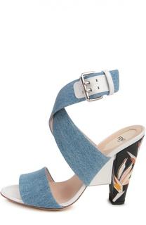 Босоножки из денима на каблуке с рисунком Fendi