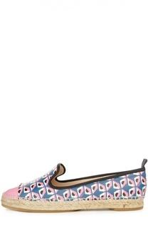 Кожаные эспадрильи с принтом Monster Fendi