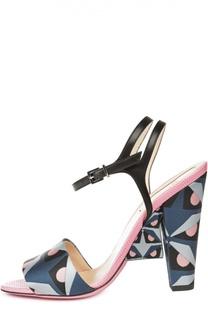 Босоножки с принтом на геометричном каблуке Fendi