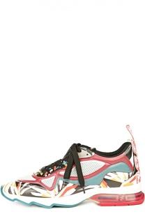 Кожаные кроссовки с принтом Fendi
