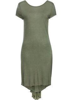 Трикотажное платье с шифоном (черный с рисунком) Bonprix