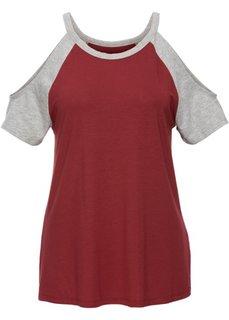 Двухцветная футболка с вырезами (кроваво-оранжевый/петролевый) Bonprix
