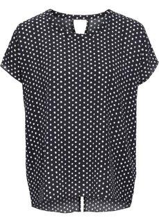 Блузка в горошек с коротким рукавом (цвет белой шерсти/черный в гор) Bonprix