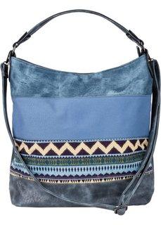 Джинсовая сумка-шопер в этно-стиле (синий джинсовый) Bonprix