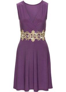 Трикотажное платье с кружевом (темно-синий) Bonprix