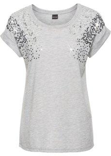 Свободная футболка с пайетками (винтажно-розовый меланж) Bonprix