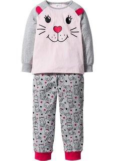 Пижама (2 изд.) (светло-серый меланж/розовый же) Bonprix
