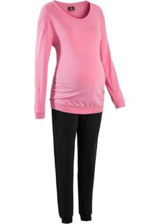 Пижама для будущих мам (ярко-розовый/черный) Bonprix