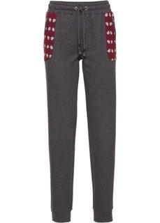 Трикотажные брюки с накладными карманами (цвет белой шерсти/кленово-крас) Bonprix