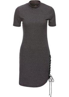 Трикотажное платье со шнуровкой (черный) Bonprix