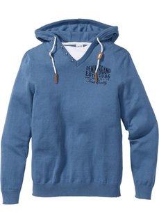 Пуловер Regular Fit с капюшоном (светло-серый меланж) Bonprix