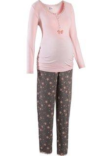 Пижама для будущих и кормящих мам (нежно-розовый/серый) Bonprix