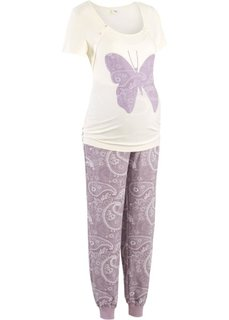 Пижама для будущих и кормящих мам (кремовый/сиреневый с принтом) Bonprix