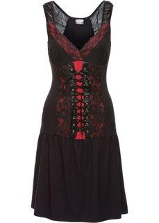 Платье-корсет с шифоном (черный/серый) Bonprix