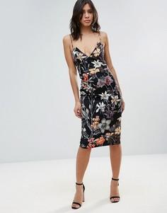 Коктейльное платье миди с цветочным принтом Talulah - Черный