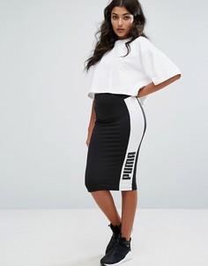 Черная юбка-карандаш с контрастными вставками по бокам Puma - Черный