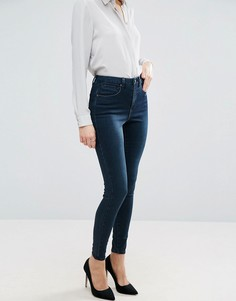 Темно-синие премиум-джинсы с завышенной талией ASOS SCULPT ME - Синий