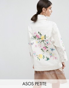 Премиум-куртка с вышивкой и заклепками ASOS PETITE - Белый