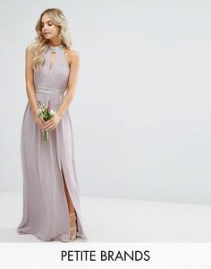 Свадебное платье макси с отделкой TFNC Petite - Серый
