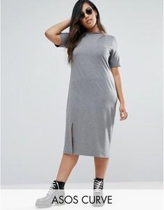 Платье-футболка миди с деконструированной горловиной ASOS CURVE - Серый