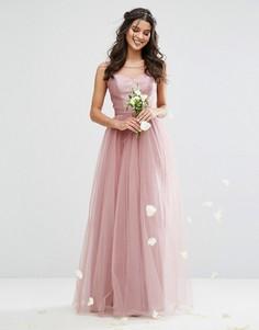 Тюлевое платье макси с атласным лифом и вырезом сердечком Chi Chi London - Фиолетовый