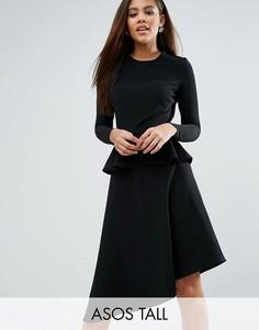 Приталенное платье миди в рубчик с баской ASOS TALL - Черный