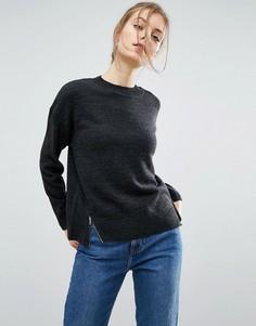 Джемпер в стиле oversize с разрезами и молниями ASOS - Серый