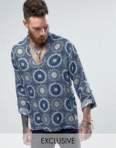 Рубашка через голову классического кроя Reclaimed Vintage - Синий