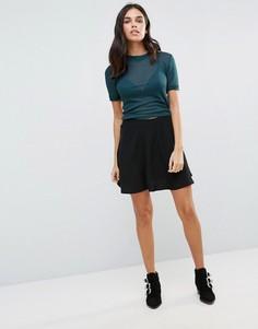 Короткая расклешенная юбка First & I - Черный
