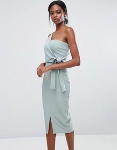 Платье-футляр на одно плечо с поясом Lavish Alice - Зеленый