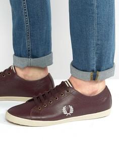 Коричневые кожаные кроссовки Fred Perry Kingston - Красный