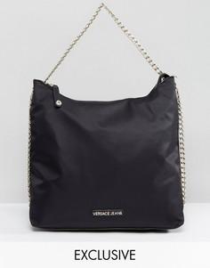 Oversize-сумка на плечо с цепочкой Versace Jeans - Черный