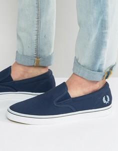 Темно-синие парусиновые кроссовки-слипоны Fred Perry Underspin - Темно-синий
