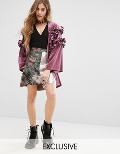 Жаккардовая юбка мини цвета металлик с цветочным рисунком Reclaimed Vintage Inspired - Розовый