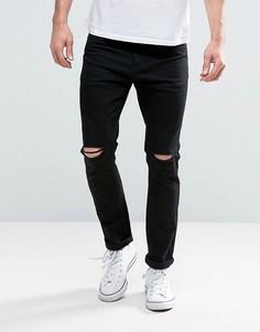 Черные джинсы скинни с прорехами на коленях Brave Soul - Черный