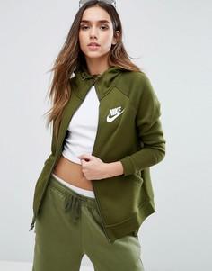 Худи цвета хаки на молнии Nike Rally - Зеленый