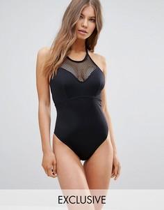 Слитный купальник со вставкой из сетки на груди и высоким вырезом горловины эксклюзивно для ASOS FULLER BUST размеры DD-G - Черный