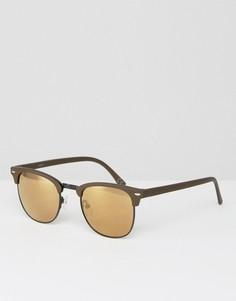 Черно-зеленые солнцезащитные очки в стиле ретро с зеркальными стеклами ASOS - Зеленый