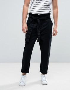 Черные зауженные брюки с присборенным поясом ASOS - Черный
